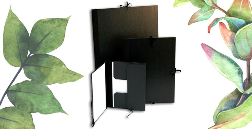 Retro sort portfoliomappe i 5 størrelser